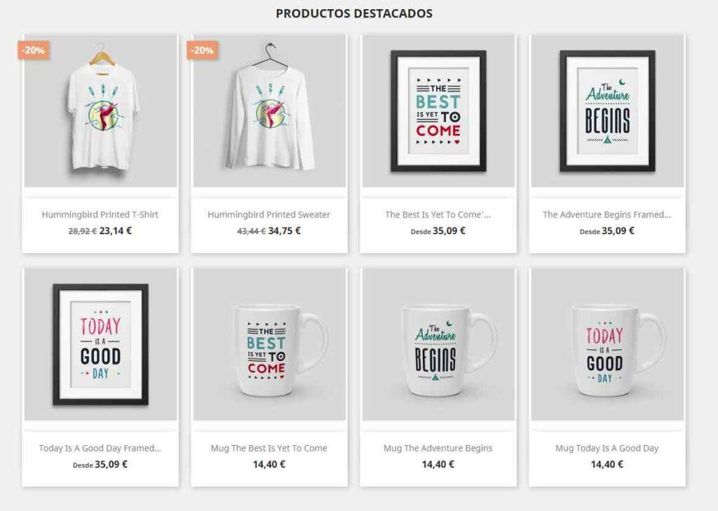 Productos de ejemplo en PrestaShop