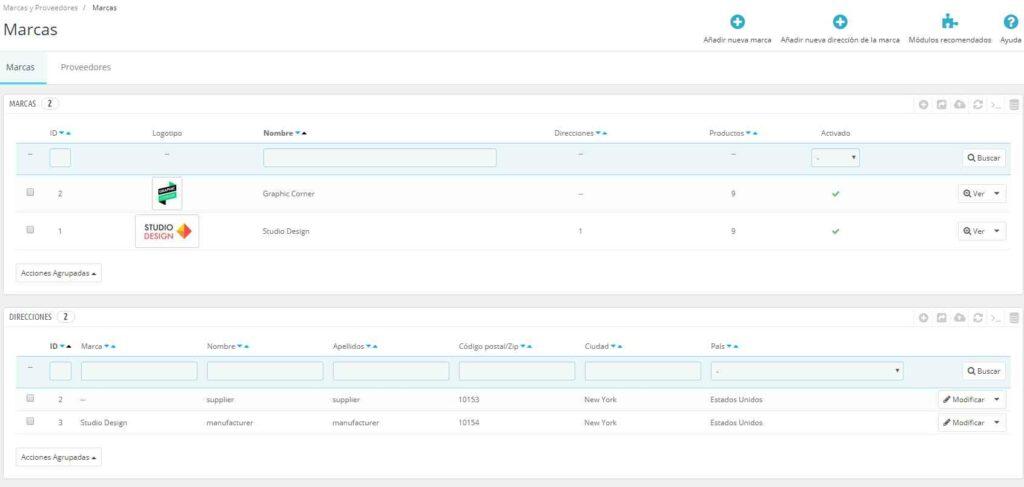 Datos de ejemplo en PrestaShop: Marcas