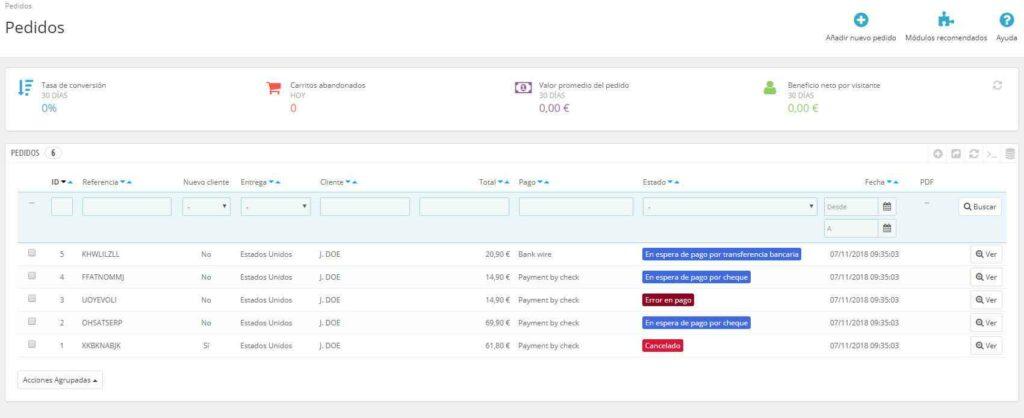Datos de ejemplo en PrestaShop: Pedidos