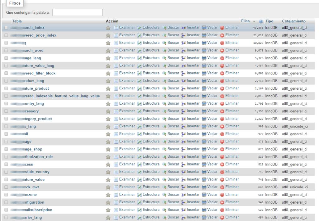 Limpiar la base de datos de PrestaShop 1.7