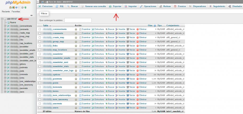 Migración de un WordPress. Estructura de la base de datos.