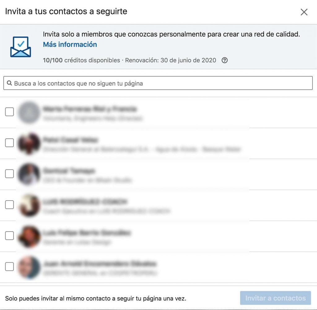 Invitaciones y contactos LinkedIn