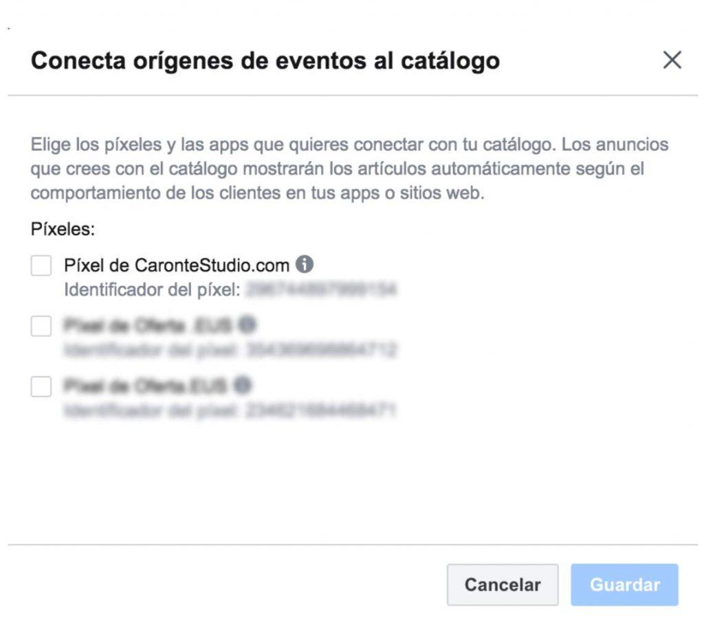 Conexión de píxel de Facebook con Catálogo de Facebook