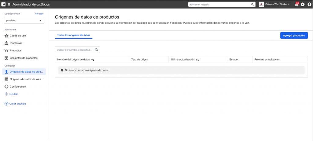 Administrador de catálogos en Facebook Business Manager