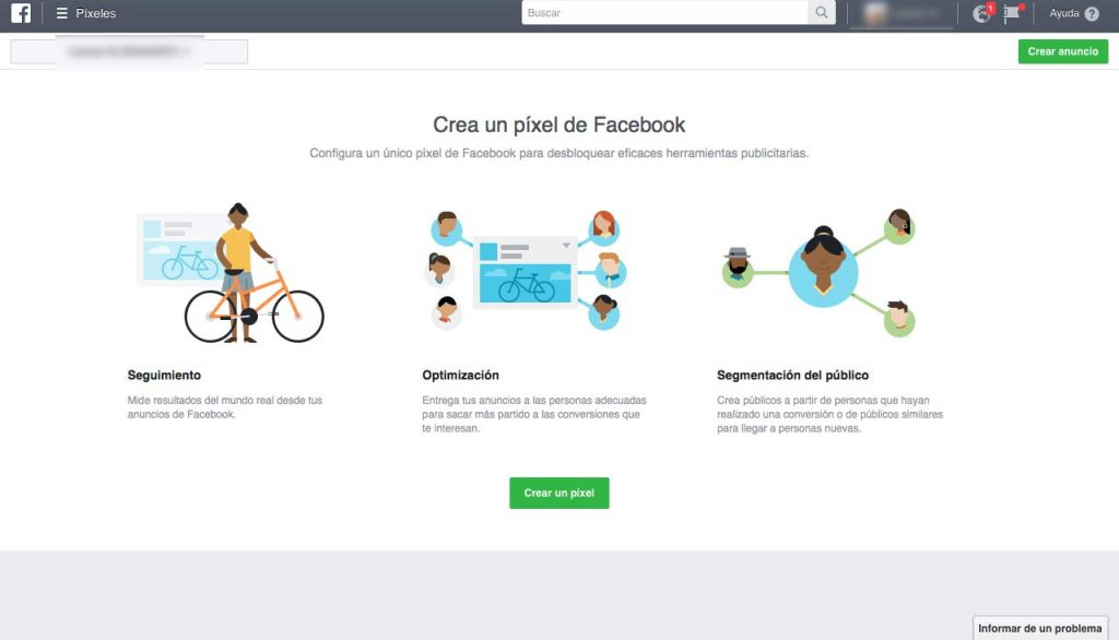 Pantalla de creación de píxel en Facebook Business Manager