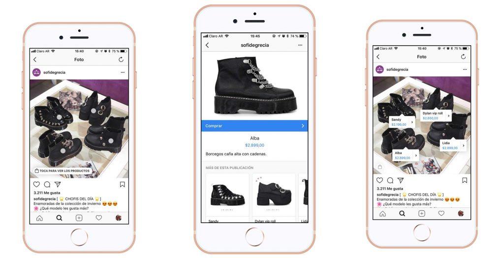 Ejemplos de cómo se ven los anuncios en Instagram shopping