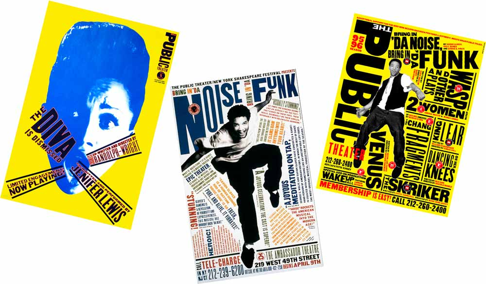 Carteles de Public Theatre por Paula Scher