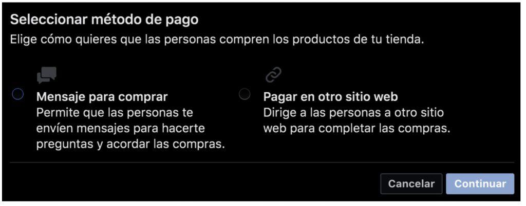 Selección del método de pago en Facebook e Instagram Shopping
