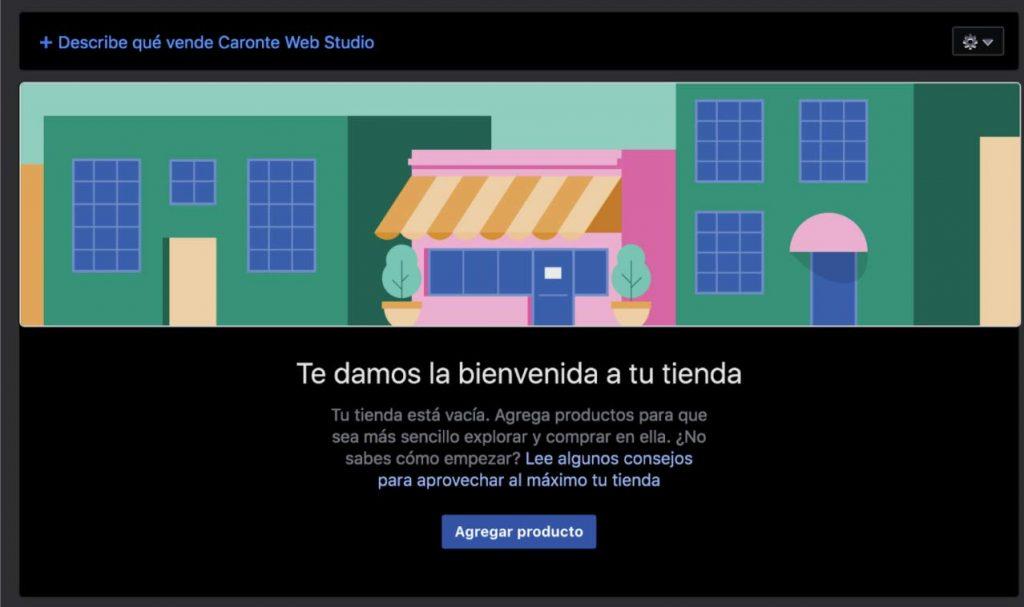 Mensaje de bienvenida a Facebook shops & Instagram, Shopping