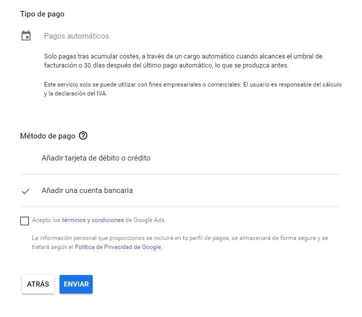Creando una cuenta en Google Ads. Tipos de pago.