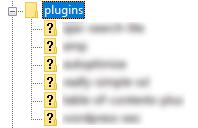 Estructura en FTP de los plugins de WordPress