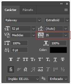 Traking para controlar el espaciado entre letras | Photoshop
