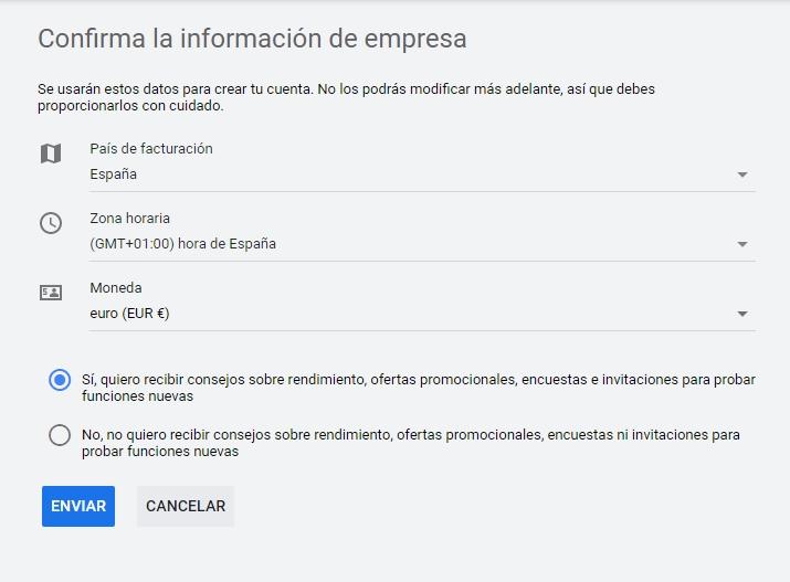 Confirmar información de empresa o particular