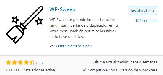 WP-Sweep. Plugin para limpiar la base de datos de WordPress