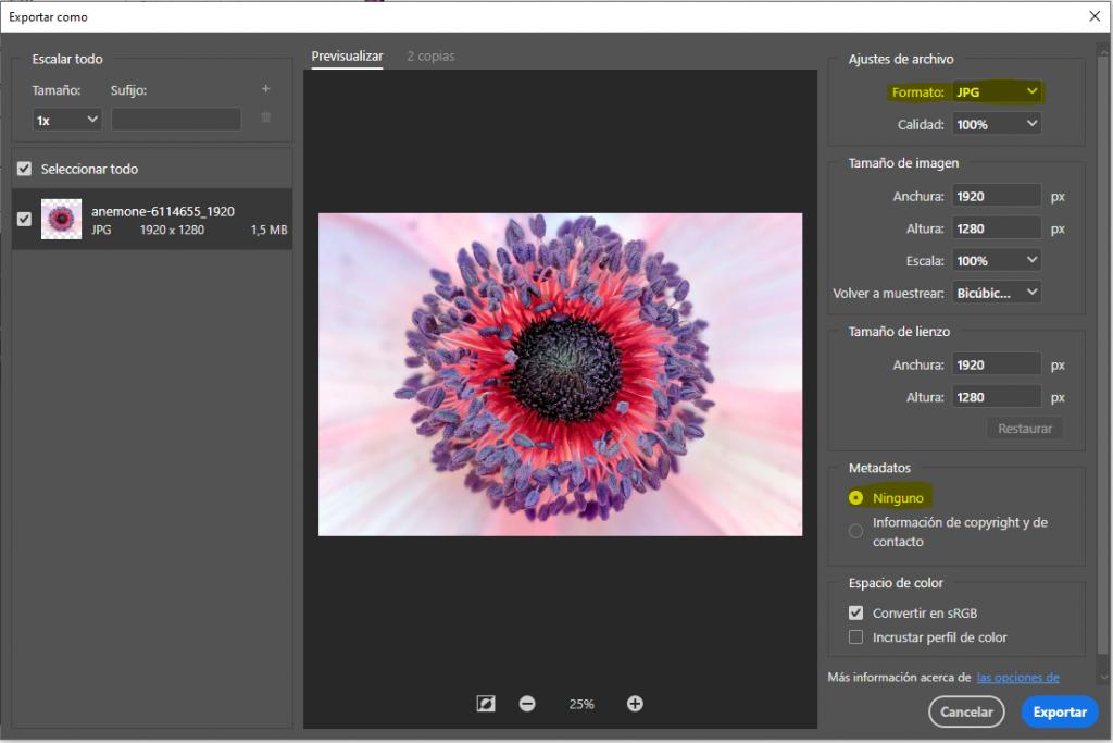 Exportamos la imagen a JPG y seleccionamos 'ninguno' en metadatos