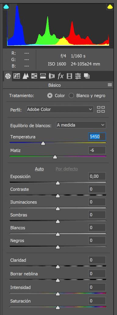 Panel de control del formato raw