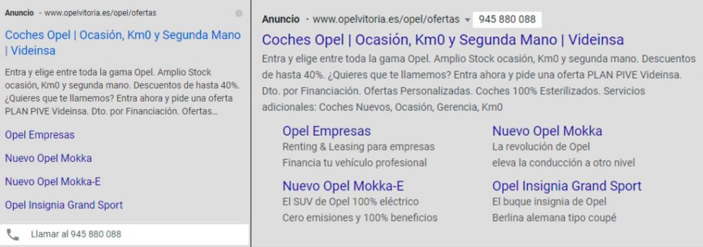 Mostrado de extensión de llamada en dispositivo móvil y en ordenador de Google Adwords