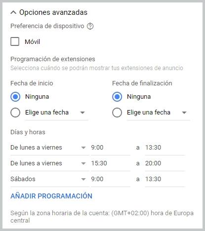 Opciones avanzadas de configuración de las extensiones de llamada de Google Adwords