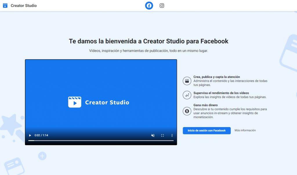 Inicio creator studio