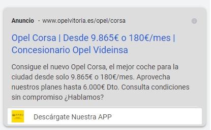Mostrado de extensión de aplicación en un anuncio de Google Ads