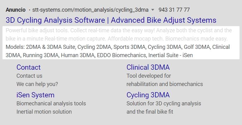 Anuncio de Google Ads con extensiones de extracto de sitio