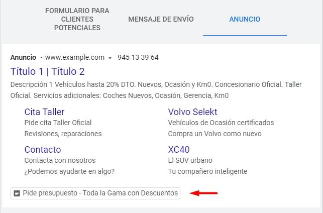 Vista previa, en campaña de búsqueda, de extensión de formulario para clientes potenciales en anuncio de Google Ads