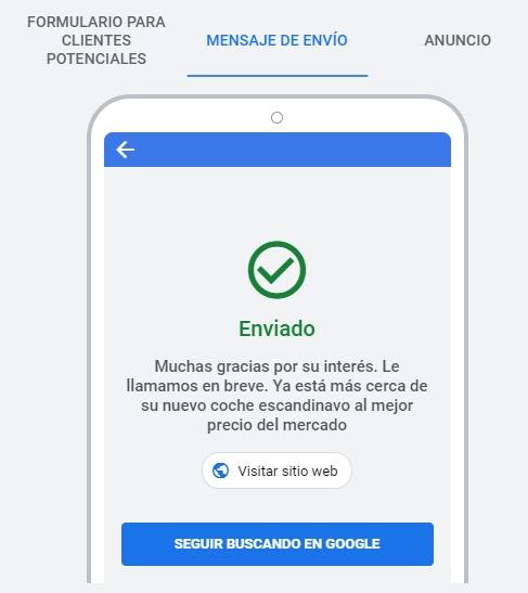 Mensaje de formulario enviado en extensión de formulario de clientes potenciales en Google Ads