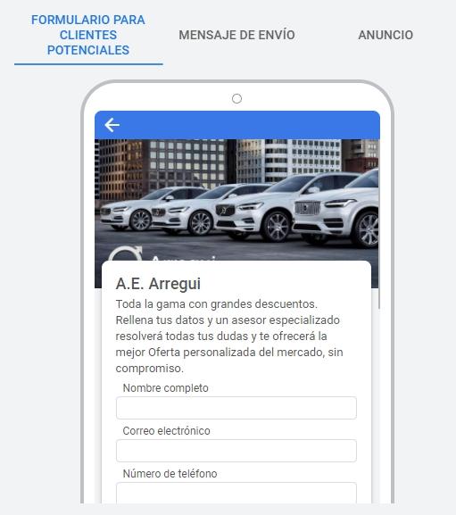 Vista previa de las preguntas de solicitud de datos de contacto en extensión de formulario de clientes potenciales en Google Ads