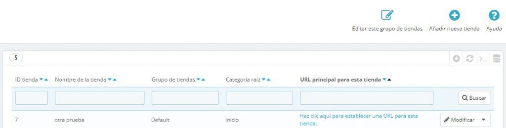 establecer URL multitienda prestashop 1.7