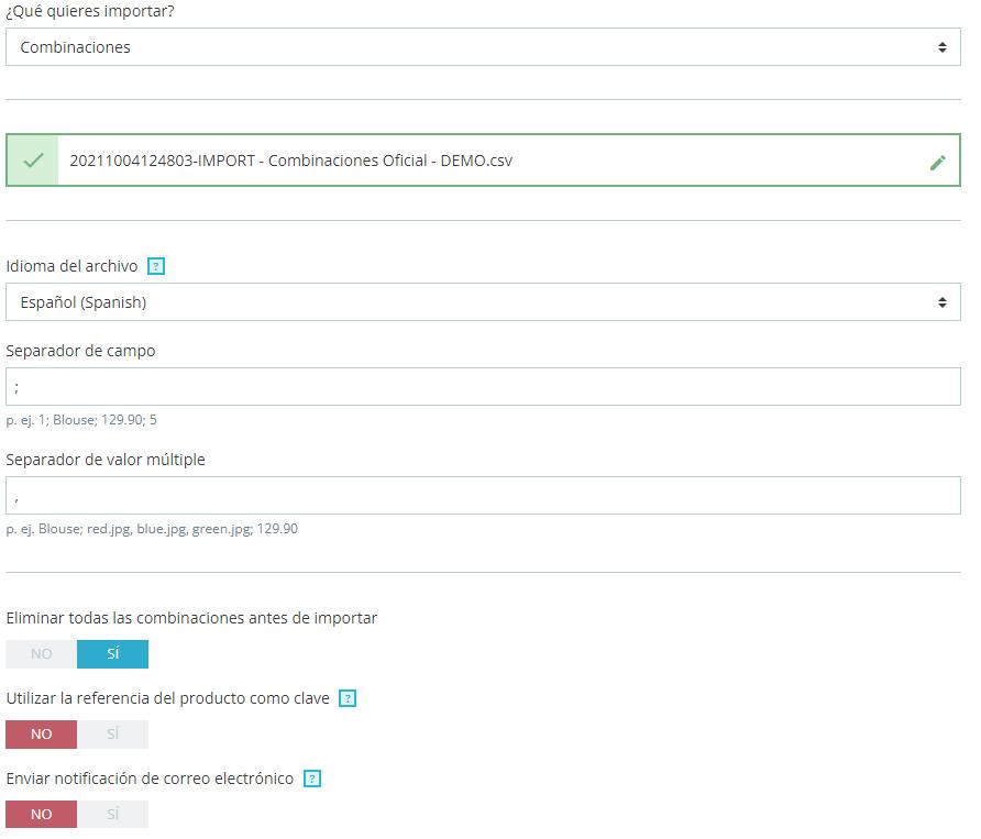 Configuración de subida de productos para multitienda