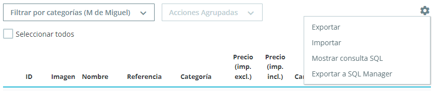 Cómo exportar productos en Prestashop 1.7
